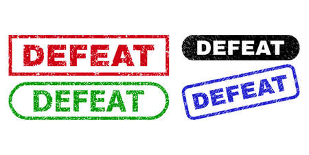 DEFEAT grunge watermarks. Flat vector scratched watermarks with DEFEAT title inside different rectangle and rounded frames, in blue, red, green, black color versions. Watermarks with grunge style.