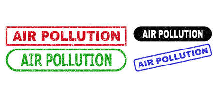 AIR POLLUTION grunge seals. Flat vector grunge seals with AIR POLLUTION slogan inside different rectangle and rounded shapes, in blue, red, green, black color variants. Imprints with grunge texture. 일러스트