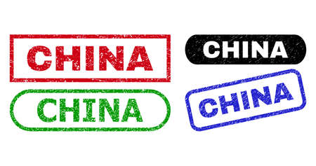 CHINA grunge stamps. Flat vector grunge stamps with CHINA text inside different rectangle and rounded frames, in blue, red, green, black color variants. Rubber imitations with scratched texture.