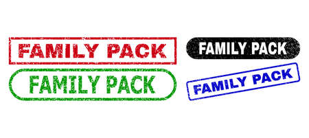 FAMILY PACK grunge seal stamps. Flat vector distress seal stamps with FAMILY PACK message inside different rectangle and rounded frames, in blue, red, green, black color versions. 일러스트