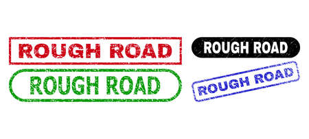 ROUGH ROAD grunge seal stamps. Flat vector scratched seal stamps with ROUGH ROAD message inside different rectangle and rounded frames, in blue, red, green, black color variants. 일러스트