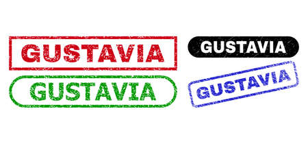 GUSTAVIA grunge seals. Flat vector grunge seals with GUSTAVIA slogan inside different rectangle and rounded frames, in blue, red, green, black color versions. Watermarks with grunge texture. 일러스트