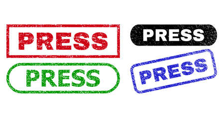 PRESS grunge seal stamps. Flat vector scratched stamps with PRESS text inside different rectangle and rounded frames, in blue, red, green, black color variants. Watermarks with grunge surface.