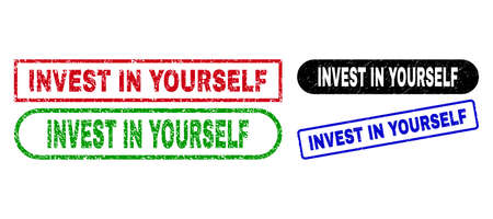 INVEST IN YOURSELF grunge seal stamps. Flat vector grunge seal stamps with INVEST IN YOURSELF tag inside different rectangle and rounded shapes, in blue, red, green, black color variants.