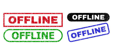 OFFLINE grunge seal stamps. Flat vector scratched seal stamps with OFFLINE tag inside different rectangle and rounded shapes, in blue, red, green, black color variants.