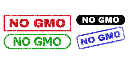 NO GMO grunge seal stamps. Flat vector distress stamps with NO GMO title inside different rectangle and rounded forms, in blue, red, green, black color versions. 일러스트