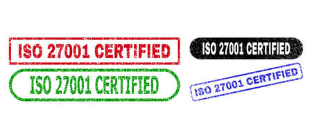 ISO 27001 CERTIFIED grunge watermarks. Flat vector textured seals with ISO 27001 CERTIFIED title inside different rectangle and rounded shapes, in blue, red, green, black color versions.