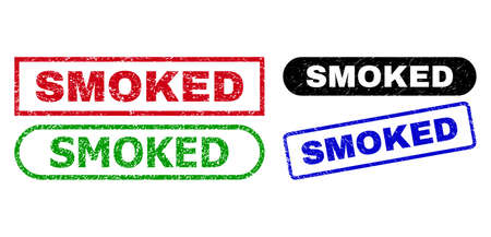 SMOKED grunge seals. Flat vector grunge seals with SMOKED title inside different rectangle and rounded forms, in blue, red, green, black color variants. Rubber imitations with corroded surface. 일러스트