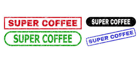 SUPER COFFEE grunge seals. Flat vector distress seals with SUPER COFFEE slogan inside different rectangle and rounded frames, in blue, red, green, black color versions.