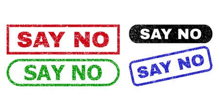 SAY NO grunge stamps. Flat vector grunge seals with SAY NO text inside different rectangle and rounded shapes, in blue, red, green, black color versions. Watermarks with grunge style.