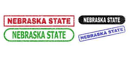 NEBRASKA STATE grunge seal stamps. Flat vector grunge seal stamps with NEBRASKA STATE title inside different rectangle and rounded shapes, in blue, red, green, black color variants.