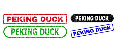 PEKING DUCK grunge stamps. Flat vector grunge seal stamps with PEKING DUCK tag inside different rectangle and rounded forms, in blue, red, green, black color variants.