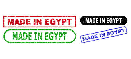MADE IN EGYPT grunge seal stamps. Flat vector distress seal stamps with MADE IN EGYPT tag inside different rectangle and rounded frames, in blue, red, green, black color versions.