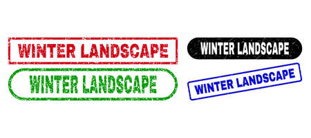 WINTER LANDSCAPE grunge seal stamps. Flat vector grunge stamps with WINTER LANDSCAPE tag inside different rectangle and rounded forms, in blue, red, green, black color variants.