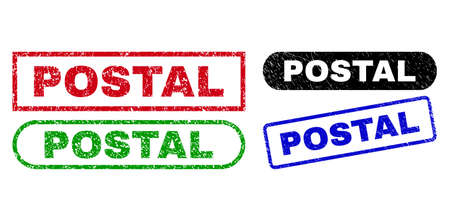 POSTAL grunge seal stamps. Flat vector grunge watermarks with POSTAL caption inside different rectangle and rounded frames, in blue, red, green, black color variants. Watermarks with distress texture. 일러스트