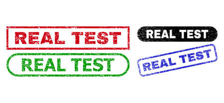 REAL TEST grunge seals. Flat vector distress seals with REAL TEST title inside different rectangle and rounded shapes, in blue, red, green, black color variants. Watermarks with grunge surface. 일러스트