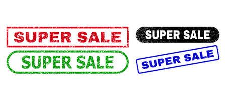 SUPER SALE grunge watermarks. Flat vector grunge stamps with SUPER SALE tag inside different rectangle and rounded forms, in blue, red, green, black color variants. Watermarks with grunged surface.