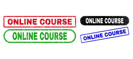 ONLINE COURSE grunge stamps. Flat vector grunge stamps with ONLINE COURSE caption inside different rectangle and rounded frames, in blue, red, green, black color variants.