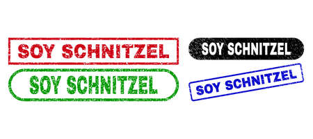 SOY SCHNITZEL grunge stamps. Flat vector distress seal stamps with SOY SCHNITZEL caption inside different rectangle and rounded forms, in blue, red, green, black color versions. 일러스트