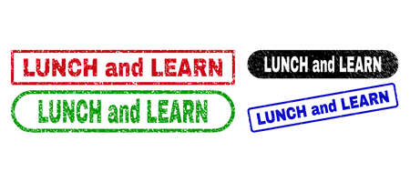 LUNCH AND LEARN grunge seal stamps. Flat vector grunge watermarks with LUNCH AND LEARN message inside different rectangle and rounded forms, in blue, red, green, black color versions. 일러스트