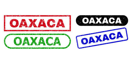 OAXACA grunge seal stamps. Flat vector scratched seal stamps with OAXACA phrase inside different rectangle and rounded frames, in blue, red, green, black color versions.