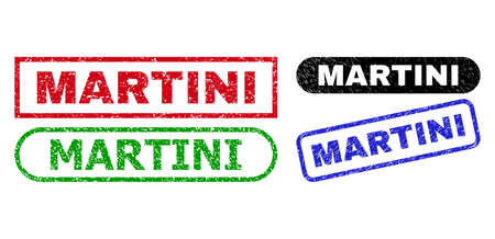 MARTINI grunge seal stamps. Flat vector grunge seal stamps with MARTINI phrase inside different rectangle and rounded frames, in blue, red, green, black color variants.