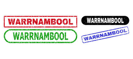 WARRNAMBOOL grunge seal stamps. Flat vector distress stamps with WARRNAMBOOL text inside different rectangle and rounded forms, in blue, red, green, black color versions. Imprints with grunge style.
