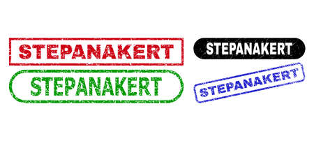 STEPANAKERT grunge watermarks. Flat vector grunge watermarks with STEPANAKERT text inside different rectangle and rounded shapes, in blue, red, green, black color versions.