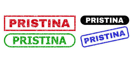 PRISTINA grunge seal stamps. Flat vector grunge seal stamps with PRISTINA phrase inside different rectangle and rounded frames, in blue, red, green, black color versions.
