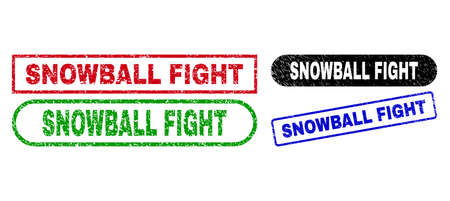 SNOWBALL FIGHT grunge seal stamps. Flat vector textured seal stamps with SNOWBALL FIGHT title inside different rectangle and rounded frames, in blue, red, green, black color variants. 일러스트