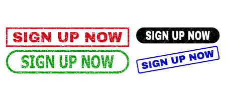 SIGN UP NOW grunge seal stamps. Flat vector grunge seal stamps with SIGN UP NOW caption inside different rectangle and rounded forms, in blue, red, green, black color versions.