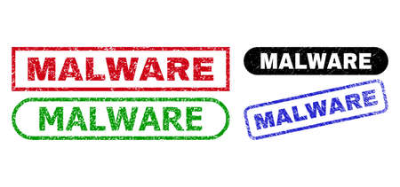 MALWARE grunge stamps. Flat vector textured stamps with MALWARE message inside different rectangle and rounded shapes, in blue, red, green, black color versions. Imprints with grunge surface.