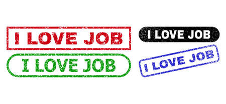 I LOVE JOB grunge seals. Flat vector grunge seals with I LOVE JOB slogan inside different rectangle and rounded frames, in blue, red, green, black color versions. Imprints with scratched surface. 일러스트