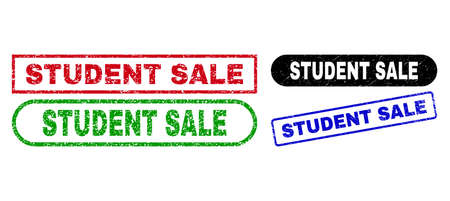 STUDENT SALE grunge stamps. Flat vector grunge watermarks with STUDENT SALE title inside different rectangle and rounded shapes, in blue, red, green, black color versions. Imprints with grunge style.