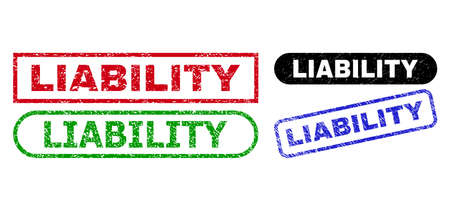 LIABILITY grunge watermarks. Flat vector scratched watermarks with LIABILITY caption inside different rectangle and rounded forms, in blue, red, green, black color variants. 일러스트