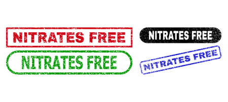 NITRATES FREE grunge seal stamps. Flat vector grunge seal stamps with NITRATES FREE message inside different rectangle and rounded forms, in blue, red, green, black color variants. 일러스트