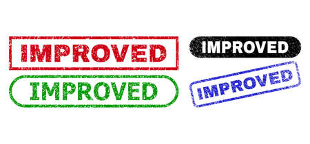 IMPROVED grunge seals. Flat vector grunge seals with IMPROVED title inside different rectangle and rounded frames, in blue, red, green, black color variants. Watermarks with grunge surface.