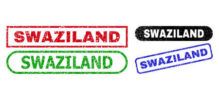 SWAZILAND grunge seal stamps. Flat vector grunge seals with SWAZILAND caption inside different rectangle and rounded forms, in blue, red, green, black color versions.
