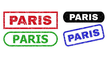 PARIS grunge seals. Flat vector grunge seal stamps with PARIS text inside different rectangle and rounded forms, in blue, red, green, black color variants. Rubber imitations with grunge style.