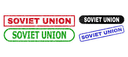 SOVIET UNION grunge stamps. Flat vector distress watermarks with SOVIET UNION text inside different rectangle and rounded frames, in blue, red, green, black color versions.