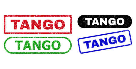 TANGO grunge stamps. Flat vector grunge watermarks with TANGO title inside different rectangle and rounded shapes, in blue, red, green, black color versions. Rubber imitations with unclean surface.