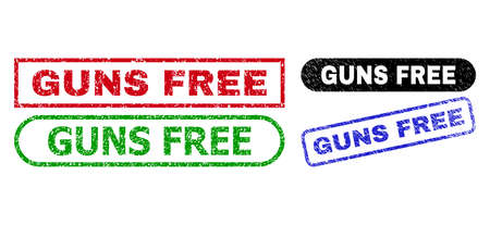 GUNS FREE grunge stamps. Flat vector grunge stamps with GUNS FREE slogan inside different rectangle and rounded forms, in blue, red, green, black color versions. Imprints with unclean surface.