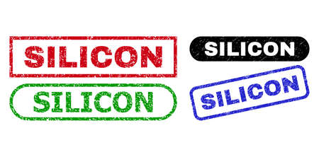 SILICON grunge seals. Flat vector grunge watermarks with SILICON message inside different rectangle and rounded forms, in blue, red, green, black color variants. Imprints with grunge texture. 일러스트