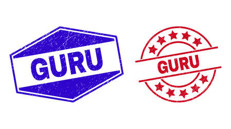 GURU badges. Red round and blue flatten hexagonal GURU seal stamps. Flat vector textured seal stamps with GURU message inside round and stretched hexagonal shapes.