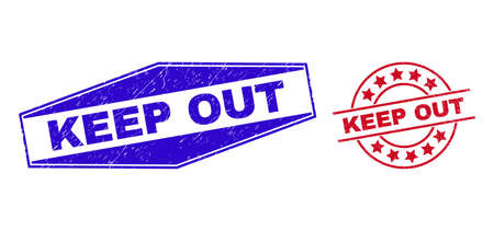 KEEP OUT badges. Red circle and blue stretched hexagonal KEEP OUT watermarks. Flat vector distress seal stamps with KEEP OUT message inside circle and stretched hexagonal shapes.