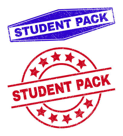 STUDENT PACK badges. Red round and blue extended hexagonal STUDENT PACK seal stamps. Flat vector distress seal stamps with STUDENT PACK tag inside round and expanded hexagon shapes.