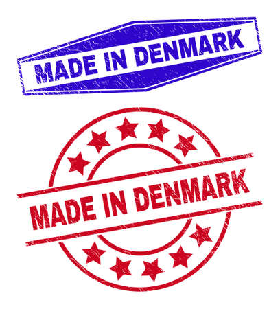 MADE IN DENMARK stamps. Red round and blue flattened hexagonal MADE IN DENMARK rubber imprints. Flat vector textured seal stamps with MADE IN DENMARK tag inside rounded and flatten hexagonal shapes.