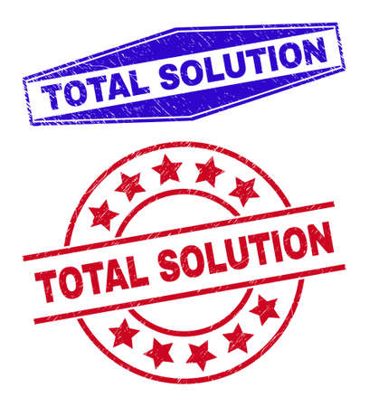 TOTAL SOLUTION badges. Red round and blue flatten hexagonal TOTAL SOLUTION rubber imprints. Flat vector grunge watermarks with TOTAL SOLUTION text inside round and flattened hexagonal shapes.
