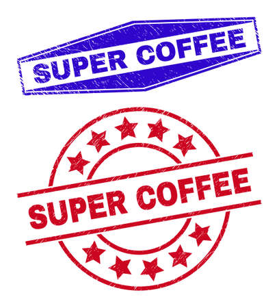 SUPER COFFEE stamps. Red round and blue flattened hexagonal SUPER COFFEE stamps. Flat vector scratched stamps with SUPER COFFEE caption inside round and stretched hexagonal shapes.