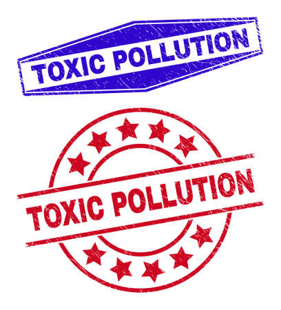 TOXIC POLLUTION badges. Red rounded and blue flatten hexagonal TOXIC POLLUTION rubber imprints. Flat vector grunge seal stamps with TOXIC POLLUTION tag inside rounded and expanded hexagonal shapes. 일러스트